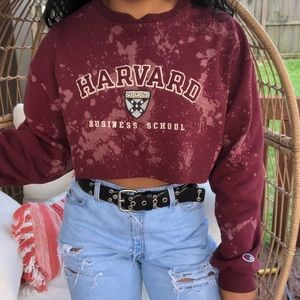 Champion Vintage Harvard Custom Cropped Sweatshirt